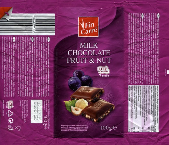 FinCarre, milk chocolate with fruit and nuts, 100g, 12.12.2014, Solent GmbH & Co. KG., Ubach-Palenberg, Germany