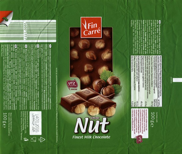 FinCarre, Milk chocolate with whole nuts, 100g, 14.01.2015, Solent GmbH & Co. KG., Ubach-Palenberg, Germany