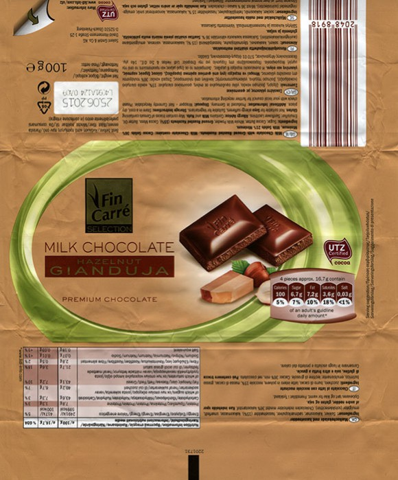 FinCarre, milk chocolate with ground roasted hazelnuts, 100g, 25.06.2014, Solent GmbH & Co. KG., Ubach-Palenberg, Germany