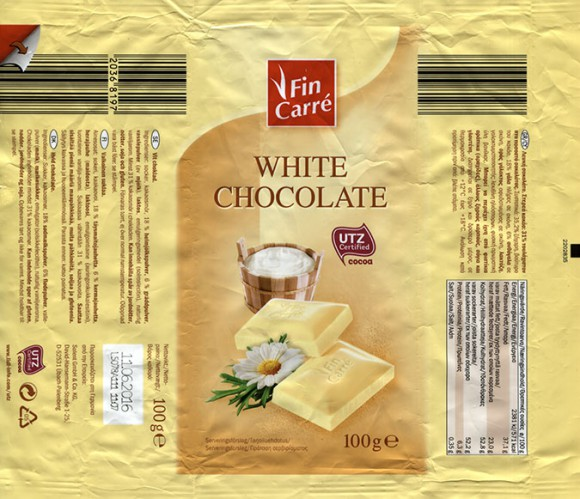 FinCarre, white chocolate, 100g, 11.06.2015, Solent GmbH & Co. KG., Ubach-Palenberg, Germany
