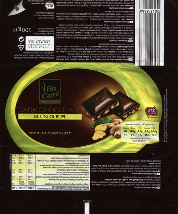 FinCarre, dark chocolate with crystallised ginger pieces, 100g, 23.03.2015, Solent GmbH & Co. KG., Ubach-Palenberg, Germany
