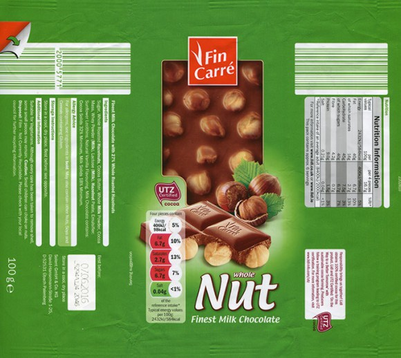 FinCarre, milk chocolate with nuts, 100g, 07.06.2015, Solent GmbH & Co. KG., Ubach-Palenberg, Germany