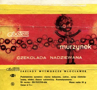 Murzynek, filled chocolate, 54g, about 1970, Spolem, Poland