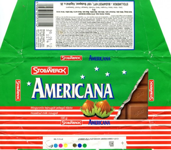 Americana, milk bar with nuts, 100g, 10.05.1997, Stollwerck Budapest KFT, Budapest, Hungary