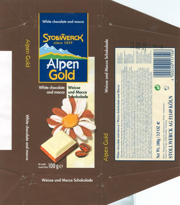Alpen Gold, white chocolate and mocca, 100g, 14.02.2000
