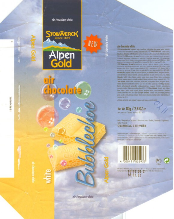 Alpen Gold, air chocolate white, 80g, 18.01.2000