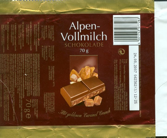 Milk chocolate with 15% butter/almond caramel pieces, 70g, 24.08.2006, Stollwerck AG , Koln, Germany