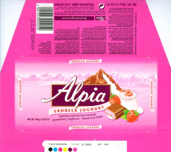 Alpia, strawberry yoghourt filled milk chocolate, 100g, 23.12.2006, Stollwerck GmbH , Koln, Germany