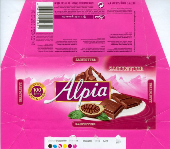 Alpia, plain chocolate, 100g, 07.03.2008, Stollwerck GmbH , Koln, Germany
