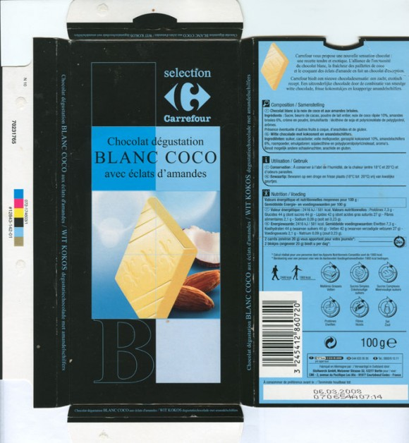 Blanc Coco, white chocolate with almonds and coconut, 100g, 06.03.2007, Stollwerck GmbH, Berlin, Germany