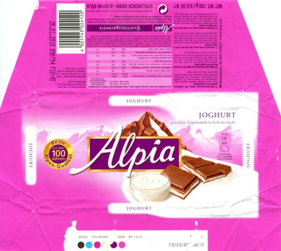 Alpia, Alpine milk chocolate filled with 45 % yoghurt filling, 100g, 20.01.2009, Stollwerck GmbH, Berlin, Germany