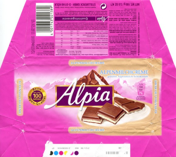 Alpia, milk chocolate, 100g, 19.02.2010, Stollwerck GmbH, Koln, Germany
