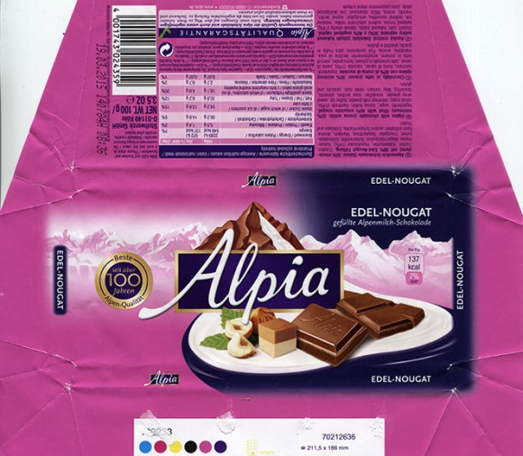 Alpia, milk chocolate filled with 40% exquisite mougat, 100g, 19.03.2014, Stollwerck GMBH, Germany