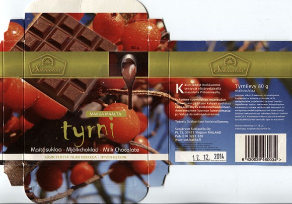Milk chocolate with buckthorn, 80g, 12.12.2013, Suojarven Suklaatila Oy, Ylojarvi, Finland