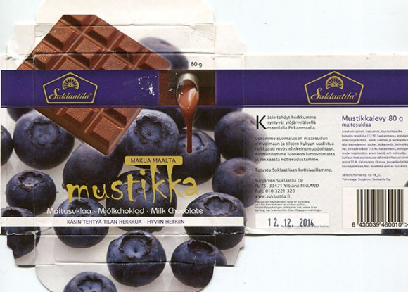 Milk chocolate with blueberry, 80g, 12.12.2013, Suojarven Suklaatila Oy, Ylojarvi, Finland