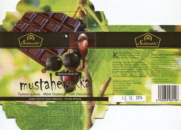 Handmade dark chocolate with blackcurrant flavoured, 80g, 12.12.2013, Suojarven Suklaatila Oy, Ylojarvi, Finland