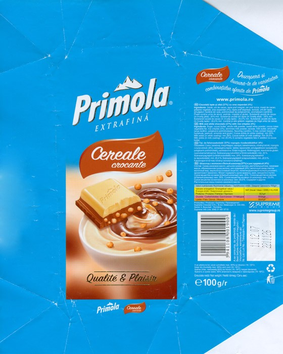 Primola, cereale crocante, milk and white chocolate with rice crispies, 100g, 11.12.2006, Supreme chocolat S.R.L, Bucharest, Romania