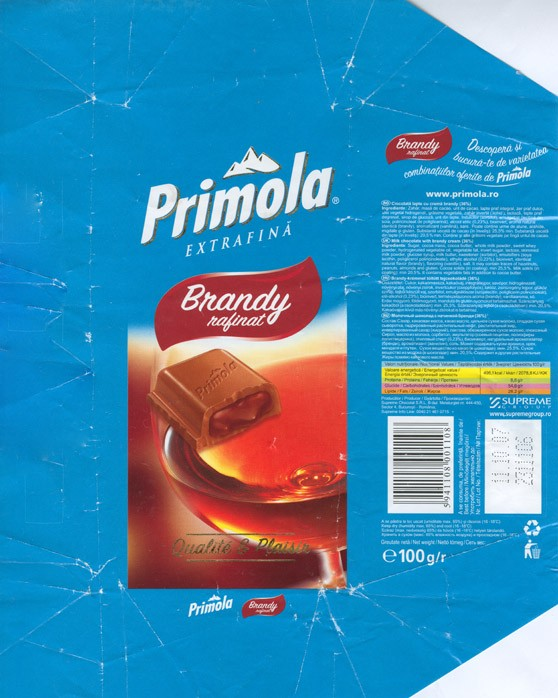 Primola, brandy rafinat, milk chocolate with brandy cream, 100g, 11.10.2006, Supreme chocolat S.R.L, Bucharest, Romania