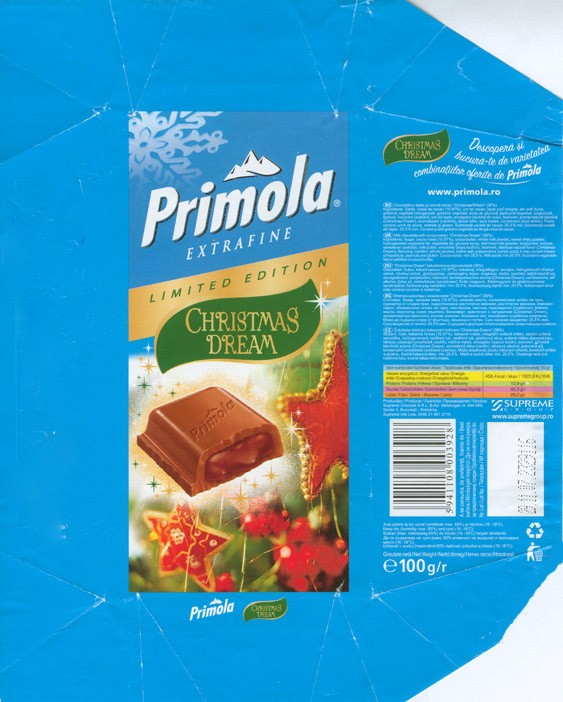 Primola, Christmas dream, milk chocolate with cocoa cream, 100g, 23.11.2007, Supreme chocolat S.R.L, Bucharest, Romania