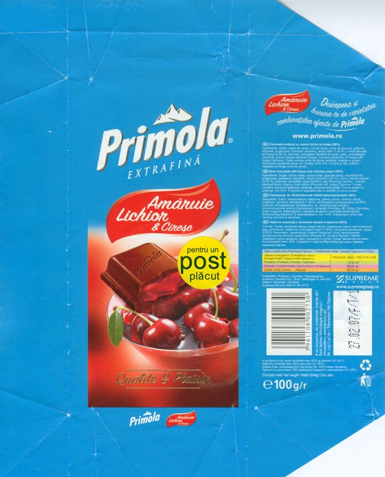 Primola, dark chocolate with liquor and cherries cream 36%, 100g, 27.02.2006, Supreme chocolat S.R.L, Bucharest, Romania