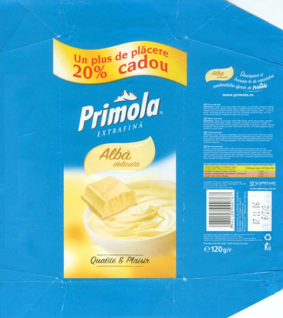 Primola, white chocolate, 120g, 07.11.2006, Supreme chocolat S.R.L, Bucharest, Romania