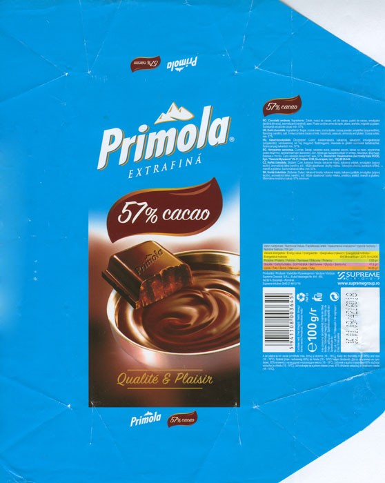 Primola, bitter chocolate, 100g, 16.01.2008, Supreme chocolat S.R.L, Bucharest, Romania