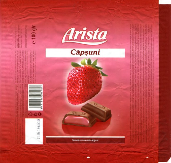 Arista, tablet filled with strawberry cream, 100g, 21.05.2011, Supreme Chocolat S.R.L. Bucharest, Romania