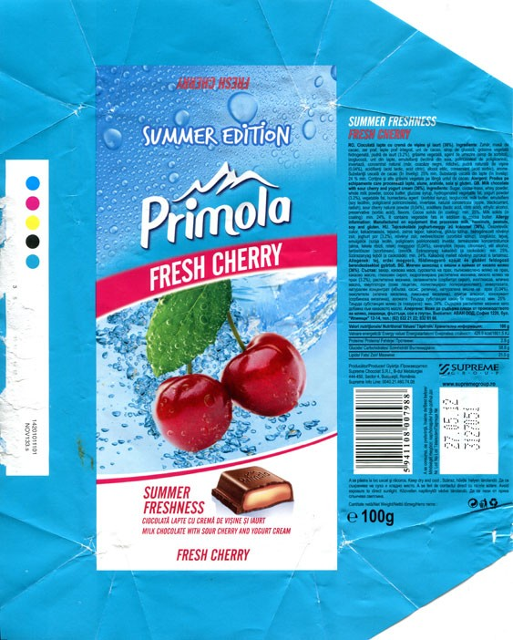 Primola, Summer freshness, milk chocolate with sour cherry and yogurt cream, 100g, 27.05.2011, Supreme Chocolat S.R.L., Bucharest, Romania