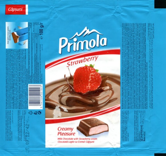 Primola, milk chocolate with srtawberry cream, 100g, 05.09.2011, Supreme Chocolat S.R.L., Bucharest, Romania