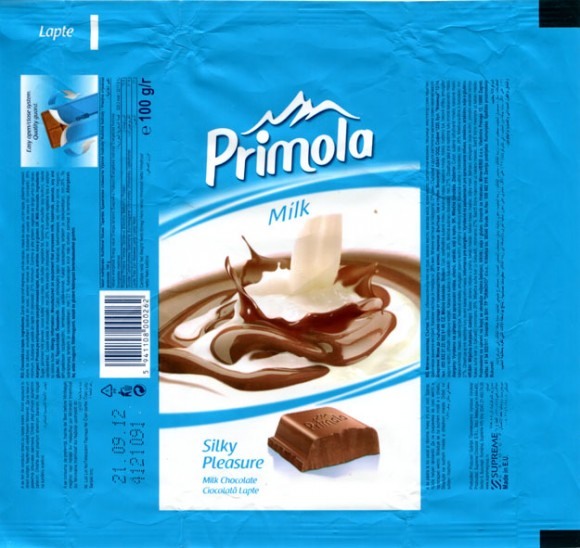 Primola, milk chocolate, 100g, 21.09.2011, Supreme Chocolat S.R.L., Bucharest, Romania