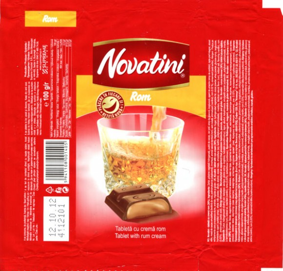 Novatini Rom, tablet with rum cream, 100g, 12.10.2011, Supreme Chocolat S.R.L., Bucharest, Romania