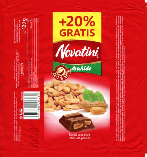 Novatini Arahide, tablet with peanuts, 120g, 12.06.2011, Supreme Chocolat S.R.L., Bucharest, Romania