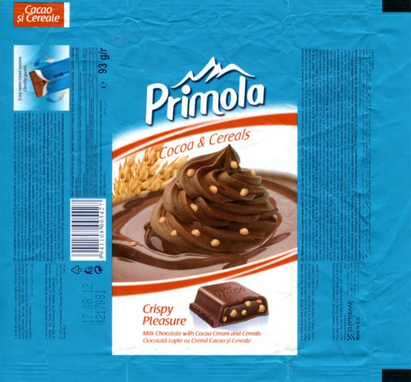 Primola, milk chocolate with cocoa cream and cereals, 93g, 17.08.2011, Supreme Chocolat S.R.L., Bucharest, Romania