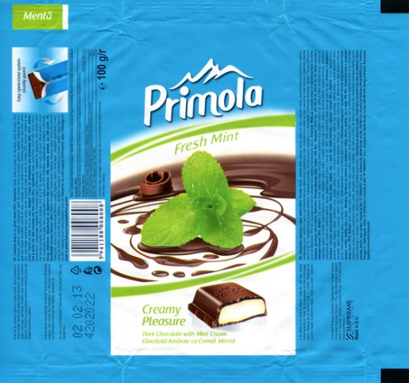 Primola, dark chocolate with mint cream, 100g, 02.02.2012, Supreme Chocolat S.R.L., Bucharest, Romania