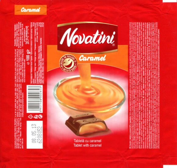 Novatini, tablet with caramel, 100g, 18.04.2012, Supreme Chocolat S.R.L., Bucharest, Romania