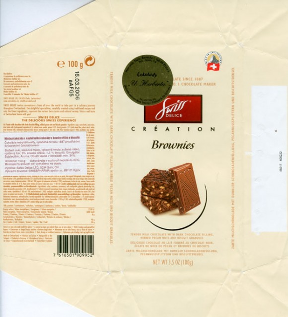 Brownies, tender milk chocolate with dark chocolate filling nibbed pecan nuts and biscuit granules, 100g, 16.03.2005, Swiss Delice ltd, Suhr, Switzerland