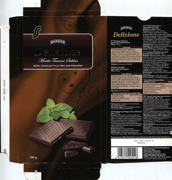 Delizione, Rainbow, dark chocolate with mint flavoured, 100g, 30.04.2013, Swiss Industries GmbH, Switzerland