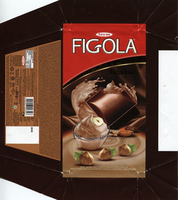 Figola, milky compound chocolate with hazelnut flavoured cream filling, 80g, 11.2014, Tayas Gida San ve Tic A.S., Turkey