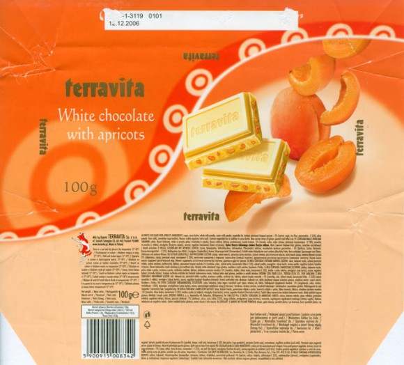 White chocolate with apricots, 100g, 11.2007, Terravita, Poznan, Poland
