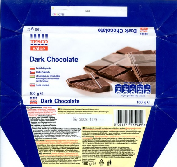 Plain chocolate, 100g, 06.2007, made in Poland for Tesco Stores Ltd., Cheshunt, United Kingdom