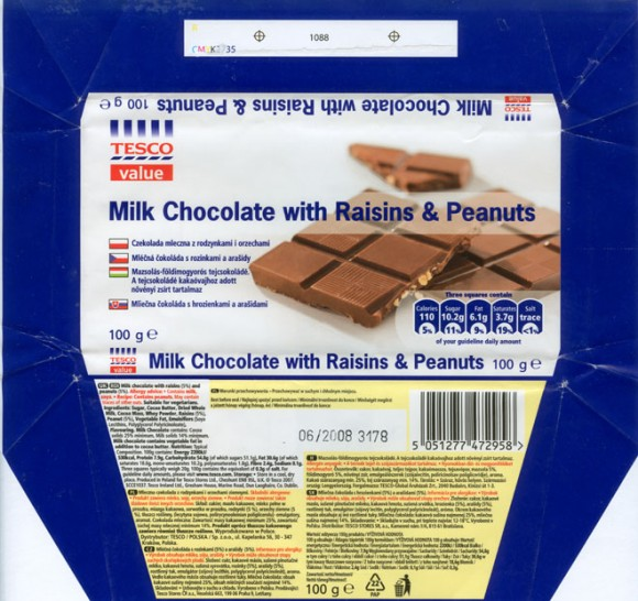 Milk chocolate with raisins and peanuts, 100g, 06.2007, made in Poland for Tesco Stores Ltd., Cheshunt, United Kingdom