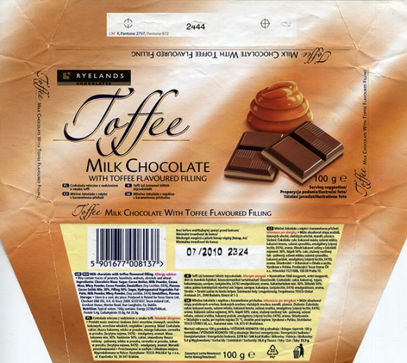 Milk chocolate with toffee flavoured filling, 100g, 07.2009, Produced in Poland for Tesco Stores Ltd., Krakow, Poland