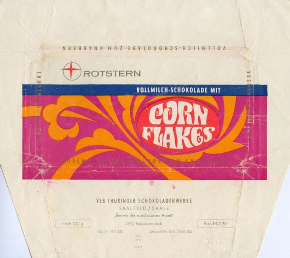 Corn Flakes, milk chocolate, 100g, 1973, Rotstern, Saalfeld/Saale, Deutsche Demokratische Republic