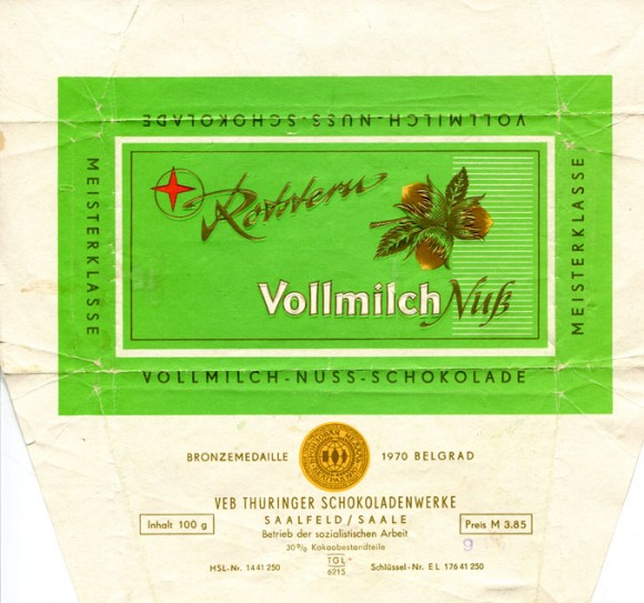Milk chocolate with nuts, 100g, about 1970, Rotstern, Saalfeld/Saale, Deutsche Demokratische Republic