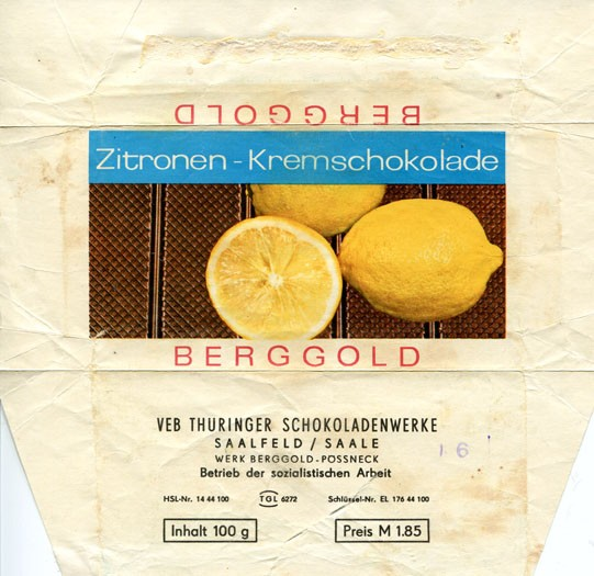 Berggold, chocolate with lemon cream flavoured, 100g, about 1970, Thuringer Schokoladenwerke, Saalfeld, Germany