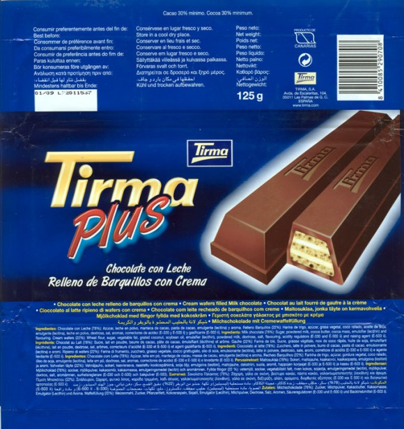 Milk chocolate with cream wafers filled, 125g, 01.2008, Tirma S.A, Las Palmas de Gran Canaria, Spain
