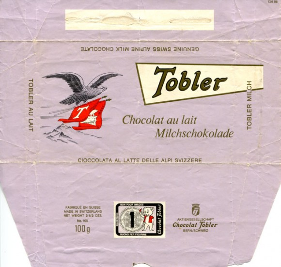 Milk chocolate, 100g, about 1962 ?, Chocolat Tobler, Bern, Switzerland