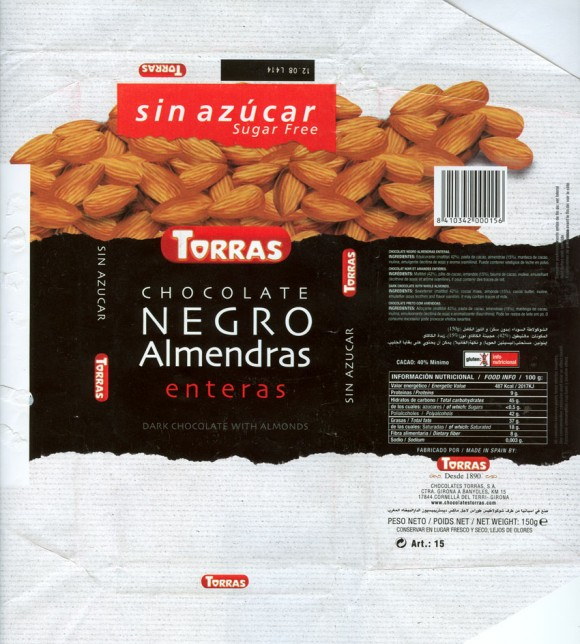 Sugar free dark chocolate with almonds, 150g, 12.2007, Chocolates Torras S.A. Cornella Del Terri-Girona, Spain