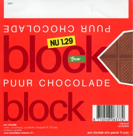 Block, pure chocolate, 75g, Tresor, Leusden, Netherlands