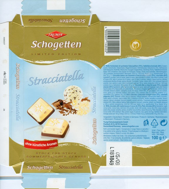 Stracciatella, white chocolate with roasted pieces of cocoa nib, plain chocolate, 100g, 05.2008, Trumpf Schokoladenfabrik GmbH, Aachen, Berlin, Germany